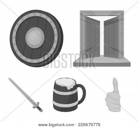 A Gate To The Treasure, A Shield For Protection, A Mug With A Bra, A Sword. Vikings Set Collection I