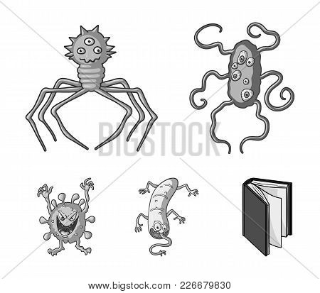 Different Types Of Microbes And Viruses. Viruses And Bacteria Set Collection Icons In Monochrome Sty