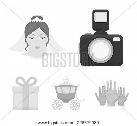 Bride, Photographing, Gift, Wedding Car. Wedding Set Collection Icons In Monochrome Style Vector Sym