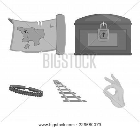 Treasure Map, Chest, Rails, Patrol.wild West Set Collection Icons In Monochrome Style Vector Symbol