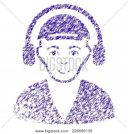 Grunge Radio Man Rubber Seal Stamp Watermark. Icon Symbol With Grunge Design And Scratched Texture.