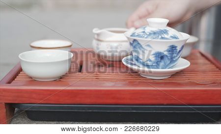 Chinese Tea Ceremony. Video. Close-up Table For The Tea Ceremony, Utensils And Accessories. Chinese