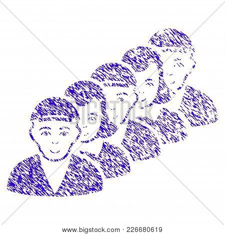 Grunge People Queue Rubber Seal Stamp Watermark. Icon Symbol With Grunge Design And Scratched Textur