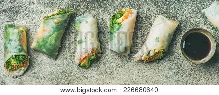 Helathy Asian Cuisine. Flat-lay Of Vegan Spring Rice Paper Rolls With Vegetables, Soy Sauce, Chopsti