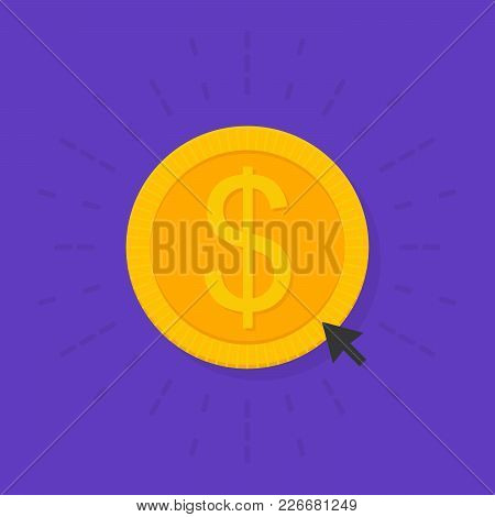 Gold Donate Sign Coin In Flat Style. Donation Of Funds. Vector Illustration.
