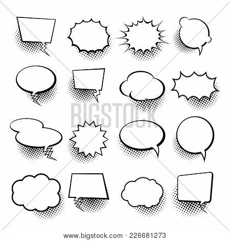 Empty Comic Collection Trendy Cloud Pop Art Vector Comic Box. Comics Book Background Template. Vecto