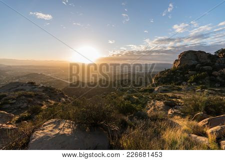 Dawn view of the San Fernando Valley in Los Angeles California.  Shot from Rocky Peak Park in the Santa Susana Mountains.