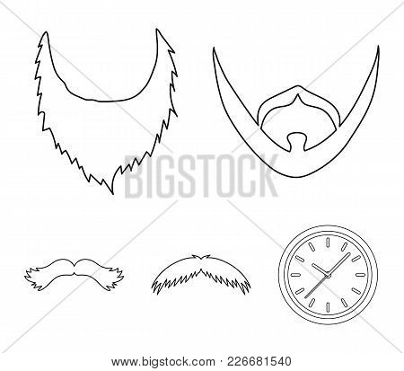 Man's Beard And Mustache.beard Set Collection Icons In Outline Style Vector Symbol Stock Illustratio