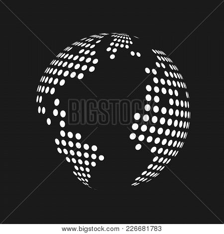 White Dotted 3D Earth World Map Globe In Black Background. Vector Illustration