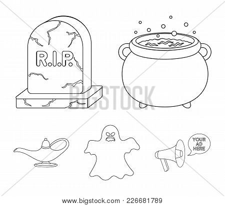 A Witch's Cauldron, A Tombstone, A Ghost, A Gin Lamp.black And White Magic Set Collection Icons In O