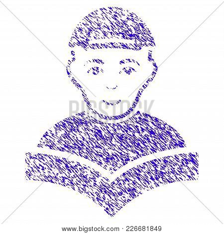 Grunge Reading Schoolboy Rubber Seal Stamp Watermark. Icon Symbol With Grunge Design And Unclean Tex