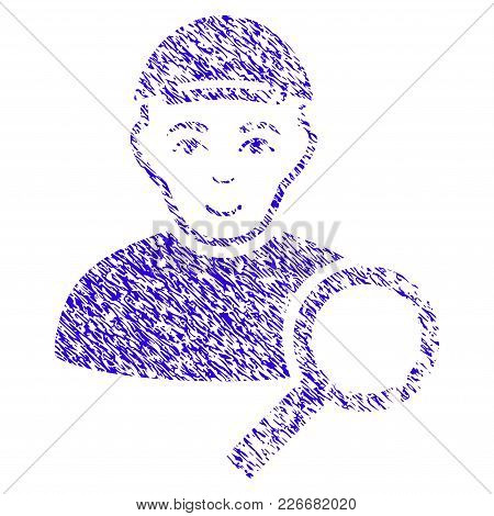 Grunge Search User Rubber Seal Stamp Watermark. Icon Symbol With Grunge Design And Dust Texture. Unc