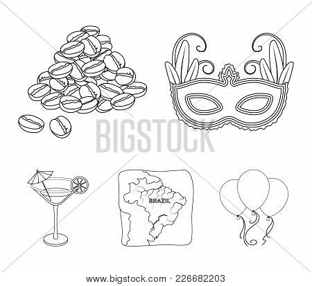 Brazil, Country, Mask, Carnival . Brazil Country Set Collection Icons In Outline Style Vector Symbol