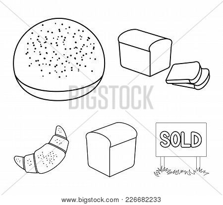 Croissant, Half, Sliced Bread, Burger For A Hamburger.bread Set Collection Icons In Outline Style Ve