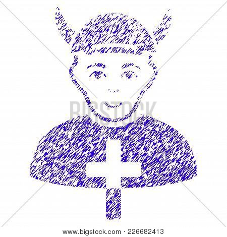 Grunge Priest Devil Rubber Seal Stamp Watermark. Icon Symbol With Grunge Design And Scratched Textur