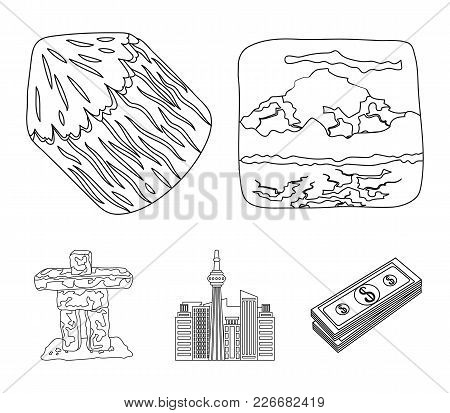 Lakes, Mountains, The Tower Of Si-en And Other Symbols Of Canada.canada Set Collection Icons In Outl