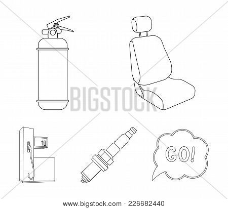 Chair With Headrest, Fire Extinguisher, Car Candle, Petrol Station, Car Set Collection Icons In Outl