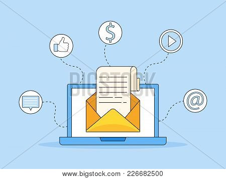 Laptop With Envelope And Read Email On Screen. Email Marketing, Internet Advertising Concepts. Flat