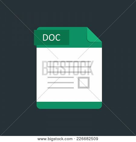 Doc File Type Icon. Vector Illustration Isolated On A Dark Blue Background.