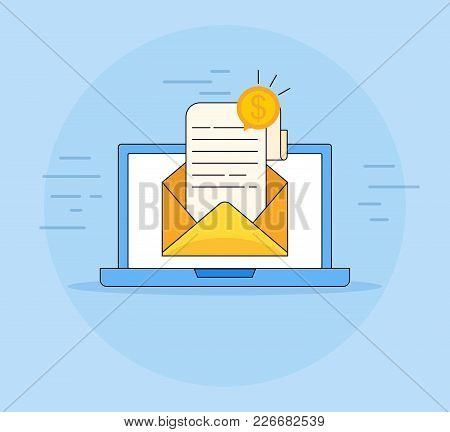 Email Marketing Campaign , Flat Cartoon Laptop Computer Screen With Browser Window And Email Newslet