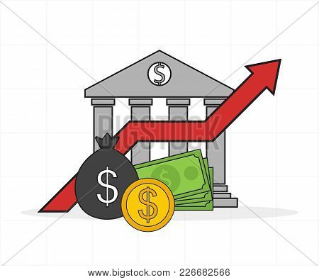Concept Of Economic Growth, Bank Lending, Vector Illustration.