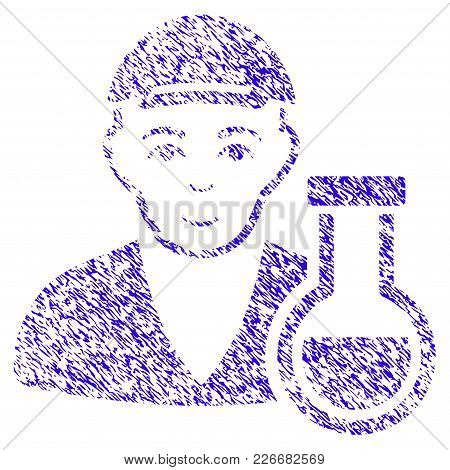 Grunge Chemistry Man Rubber Seal Stamp Watermark. Icon Symbol With Grunge Design And Unclean Texture