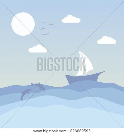 Vector Illustration Abstract Background With Little Birds Ship And Dolphins.