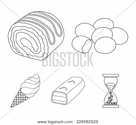 Dragee, Roll, Chocolate Bar, Ice Cream. Chocolate Desserts Set Collection Icons In Outline Style Vec