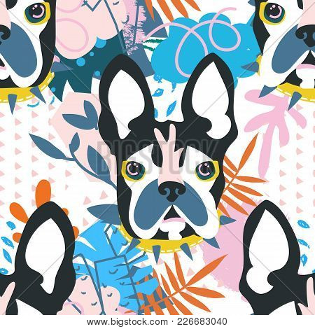Abstract Floral Elements Papercut Collage.vector Illustration Dog Head.papercut Ready For Contempora