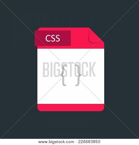 Css File Type Icon. Vector Illustration Isolated On A Dark Blue Background.