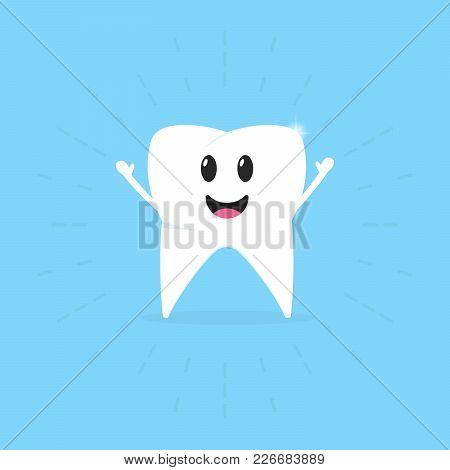 Healthy Tooth Badge On A Blue Background. Oral Hygiene Of Teeth. Children Take Care Of Their Teeth.