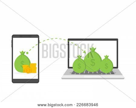 Vector Concept Of Global Money Transfer. Sending Yellow Coins From A Smartphone To A Personal Accoun