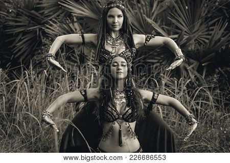 Two Beautiful Tribal Fusion Belly Dancers Outdoors