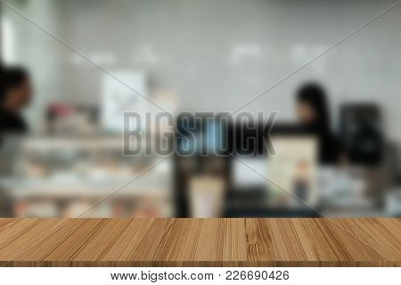 Food Court, Cafe, Coffee Shop, Cafeteria, Restaurant Interior With Wood Table For Display Product