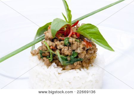 Spicy Pork Fried With Hot Basil On Rice