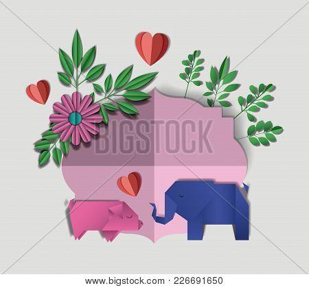 Wild Life Digital Crafts In Floral Decoration Vector Illustration Design