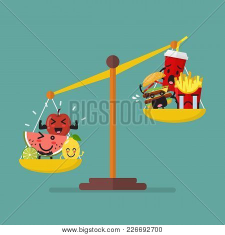 Healthy Food And Junk Food Balancing On Scales. Healthy Lifestyle Concept