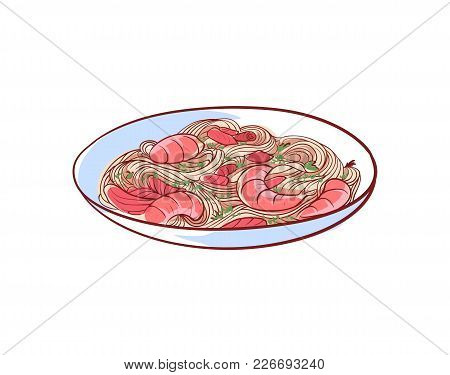 Noodles With Shrimp Icon Isolated On White Background. Thai Cuisine Dish Label, Asian Fish Restauran