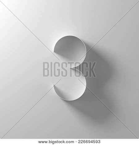 3, three, white paper number, 3d illustration
