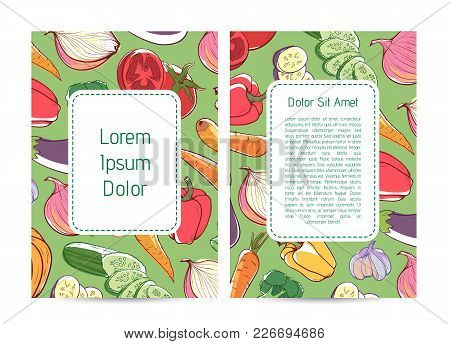 Eco Farm Products Advertising With Fresh Vegetables. Natural Organic Nutrition, Vegan Cafe Menu Desi