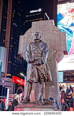 New York, Usa - January 13, 2018: Father Duffy Monumenton On Duffy Square The Northern Triangle Of T