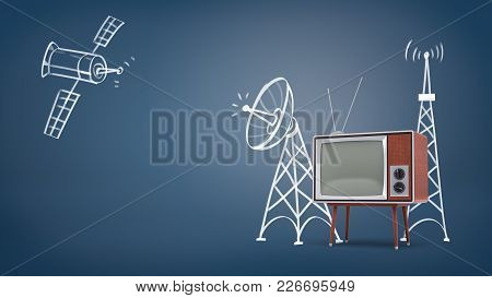 3d Rendering Of A Chalk Drawn Space Satellite And Satellite Towers Near A Large Retro Tv Set On Legs
