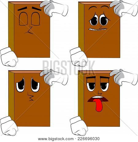 Books Confused. Cartoon Book Collection With Sad Faces. Expressions Vector Set.