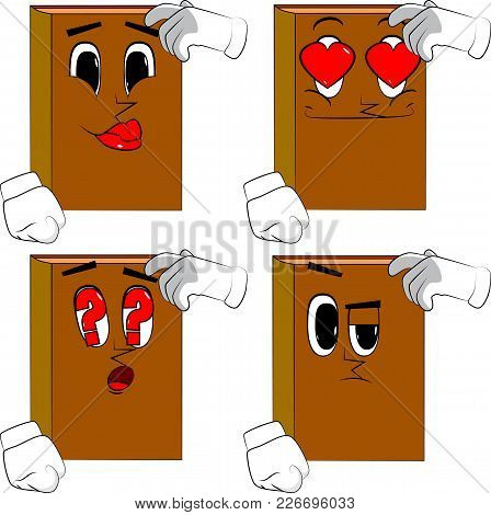 Books Confused. Cartoon Book Collection With Various Faces. Expressions Vector Set.