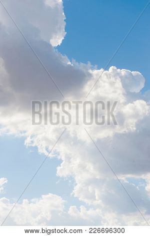 Environment, Summer sky with blue colors and very pure white clouds