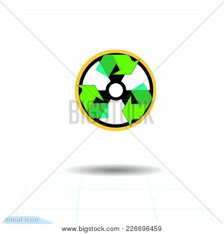 Radioactive Waste Recycling Vector Icon. Recycle Arrows Ecology Symbol. Recycled Cycle Arrow Eco. Lo