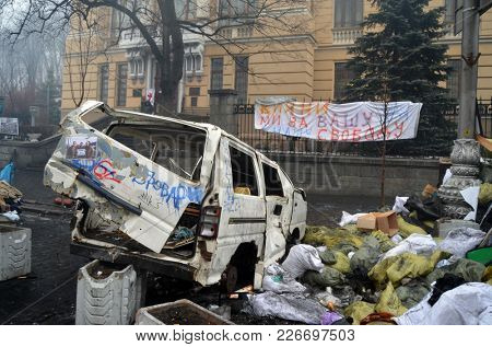 Agressive LGBT activists pro-Poroshenko riot. Gays for war against Russia and Eastern Regions. So-called Revolution of Dignity.Vandalism in downtown. April 19, 2014 Kiev, Ukraine
