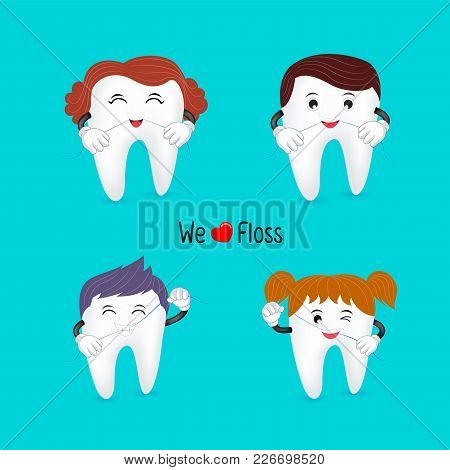 Cute Cartoon Family Tooth Character Using Dental Floss.  We Love Floss, Great For Dental Care Concep