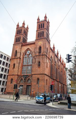 25.01.2018 Berlin, Germany - Neo-gothic Friedrichswerder Church Designed By Karl Friedrich Schinkel