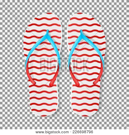 Realistic Red And White Flip Flops. Vector Illustration With Seasonal Summer Footwear Isolated On Tr